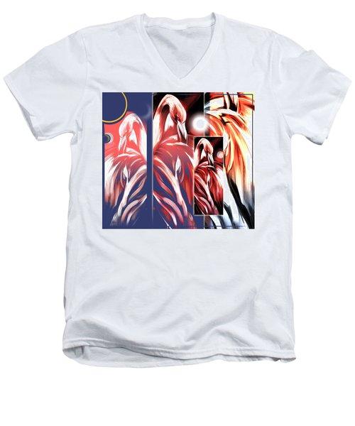 Four Flamingos Men's V-Neck T-Shirt