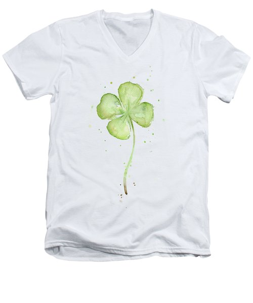 Four Leaf Clover Lucky Charm Men's V-Neck T-Shirt