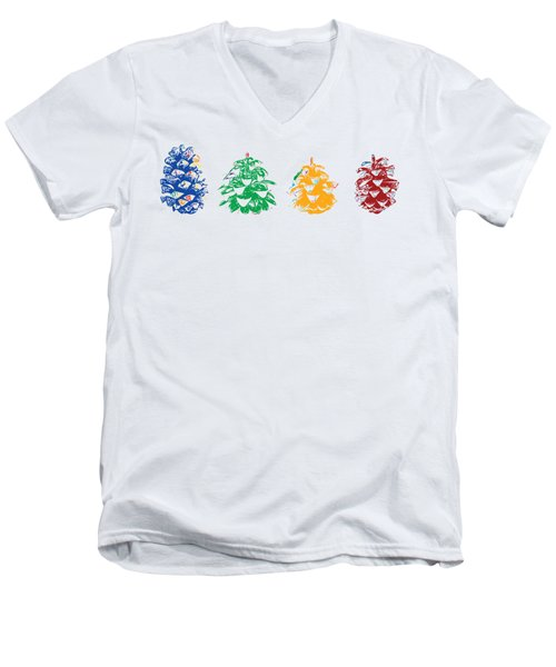 Four Pine Cones Men's V-Neck T-Shirt by Stan  Magnan
