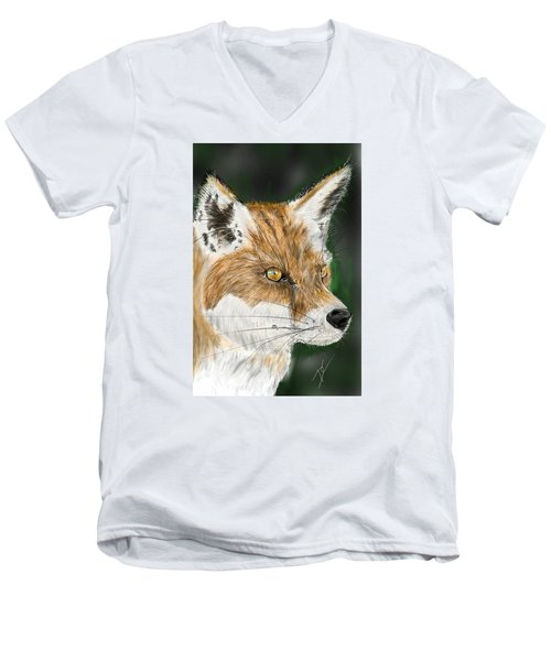Men's V-Neck T-Shirt featuring the digital art Fox by Darren Cannell