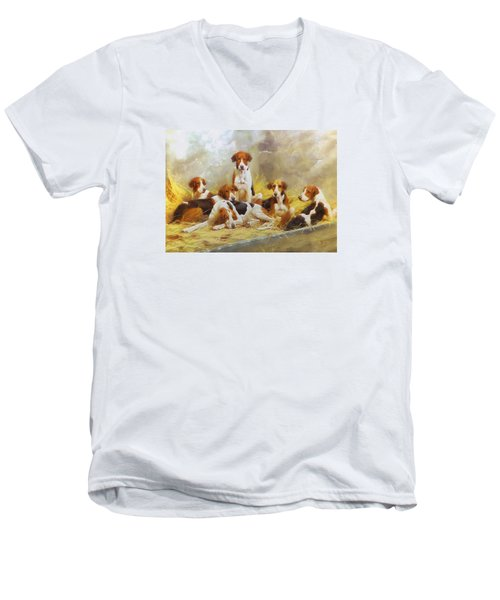 Men's V-Neck T-Shirt featuring the digital art Fox Hounds by Charmaine Zoe
