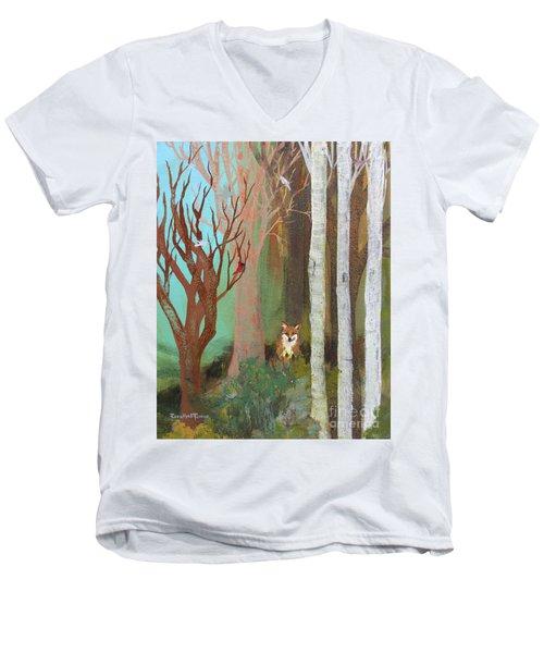 Fox In The Forest  Men's V-Neck T-Shirt