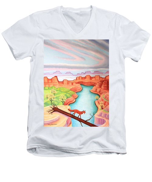 Fox Trotting Men's V-Neck T-Shirt by Tracy Dennison
