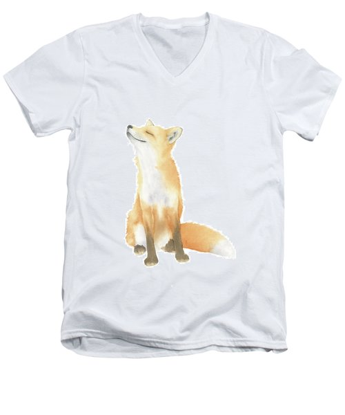 Men's V-Neck T-Shirt featuring the painting Fox Watercolor by Taylan Apukovska