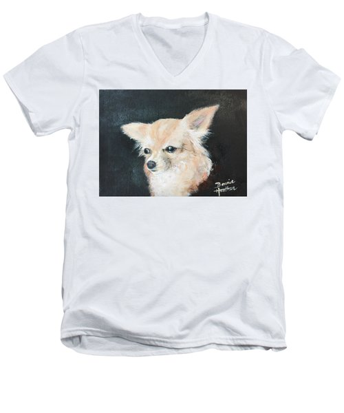 Men's V-Neck T-Shirt featuring the painting Foxy Lady  by Bonnie Heather