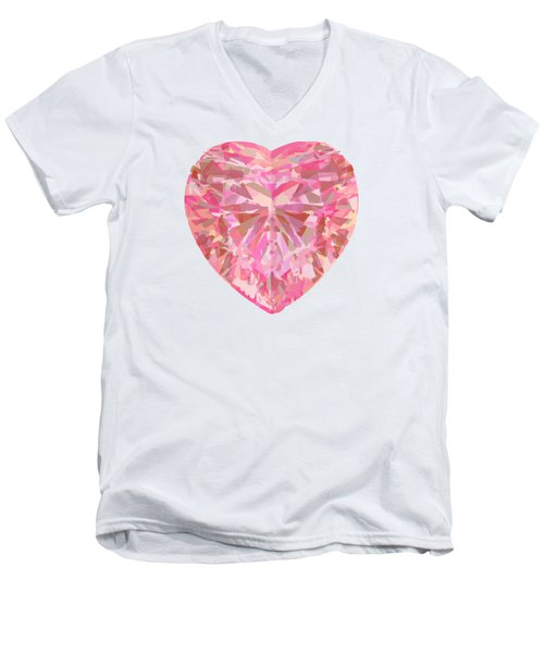 Fracked Heart Men's V-Neck T-Shirt by Stan  Magnan