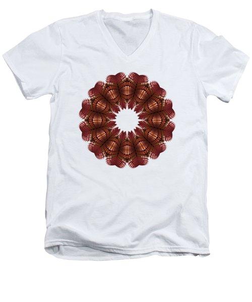 Fractal Wreath-32 Salmon T-shirt Men's V-Neck T-Shirt