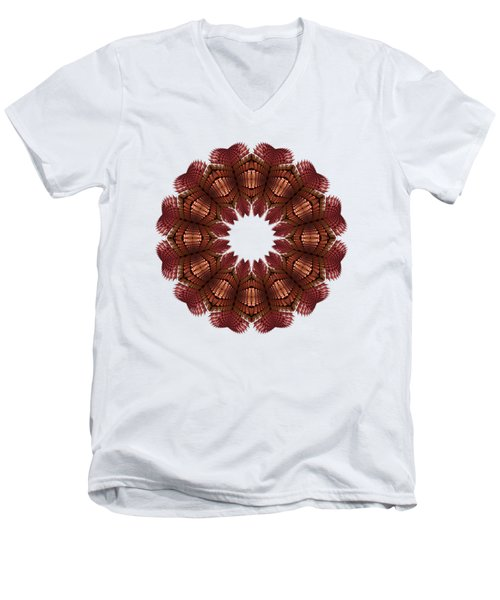 Fractal Wreath-32 Salmon T-shirt Men's V-Neck T-Shirt