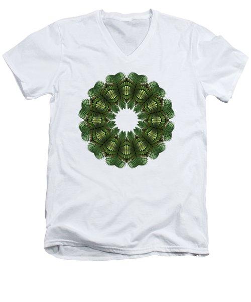 Fractal Wreath-32 Spring Green T-shirt Men's V-Neck T-Shirt