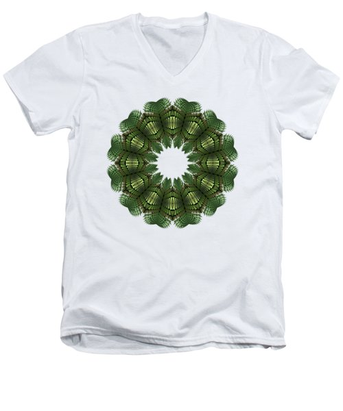 Fractal Wreath-32 Spring Green T-shirt Men's V-Neck T-Shirt