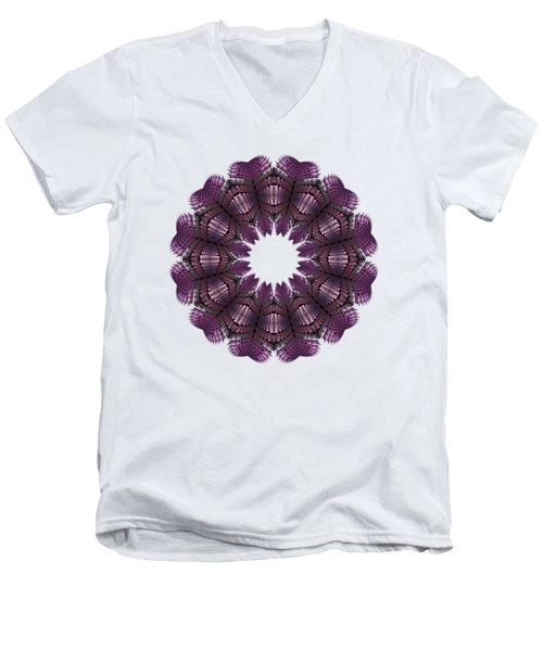 Fractal Wreath-32 Violet T-shirt Men's V-Neck T-Shirt