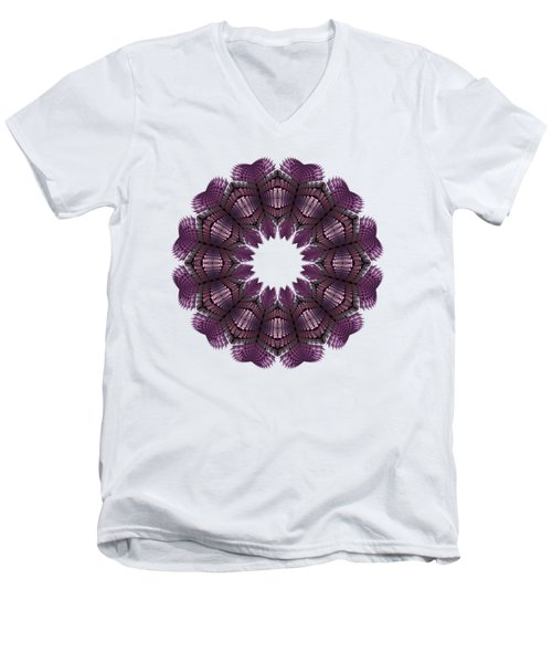 Fractal Wreath-32 Violet T-shirt Men's V-Neck T-Shirt
