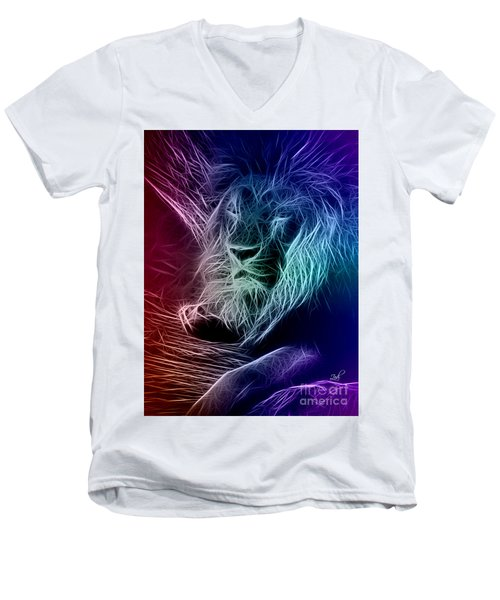 Fractalius Lion Men's V-Neck T-Shirt by Zedi