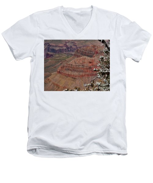 Men's V-Neck T-Shirt featuring the photograph Framed By A Snow Laden Tree by Debby Pueschel