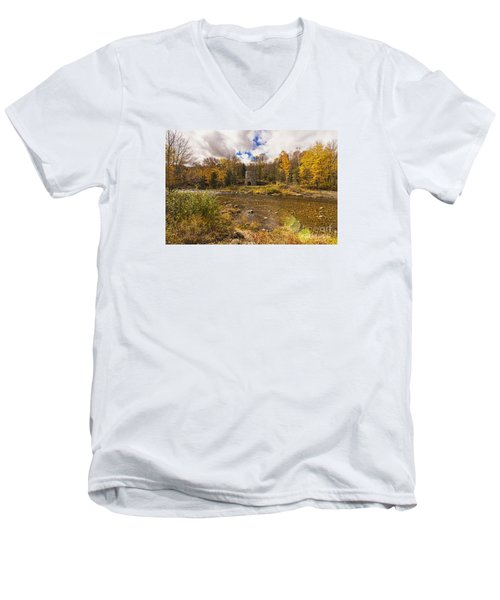 Men's V-Neck T-Shirt featuring the photograph Franconia Iron Works by Anthony Baatz
