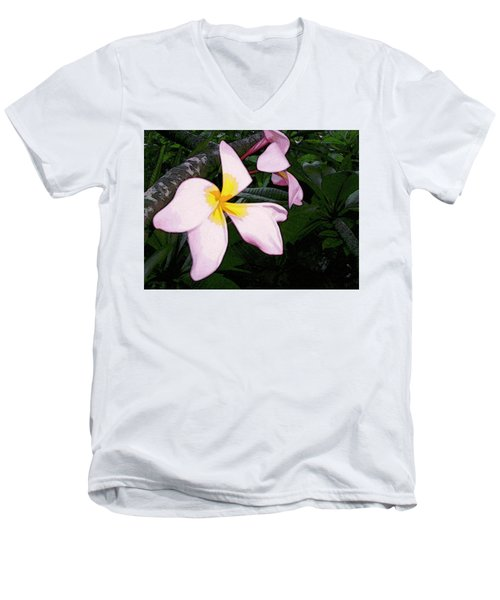 Men's V-Neck T-Shirt featuring the digital art Frangipani Moment by Winsome Gunning