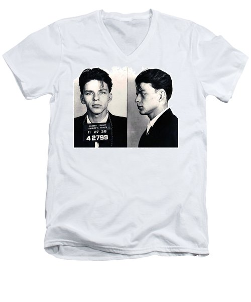 Frank Sinatra Mug Shot Horizontal Men's V-Neck T-Shirt by Tony Rubino