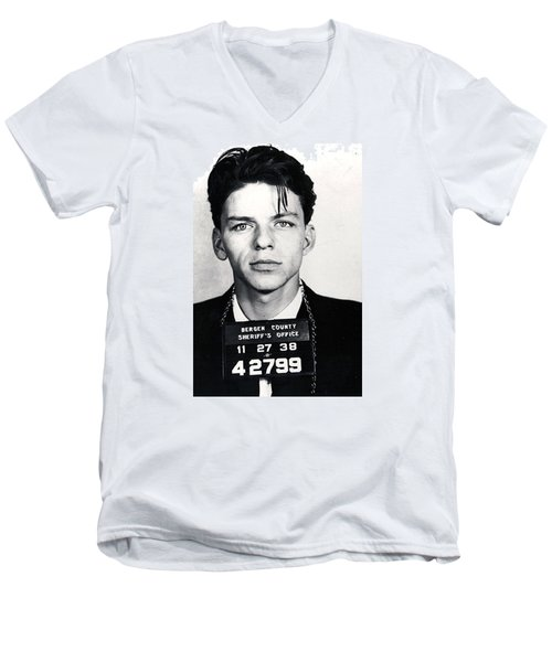 Frank Sinatra Mug Shot Vertical Men's V-Neck T-Shirt by Tony Rubino
