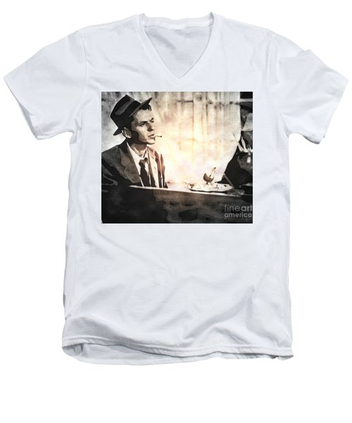 Frank Sinatra - Vintage Painting Men's V-Neck T-Shirt by Ian Gledhill