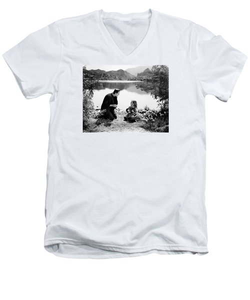Frankenstein By The Lake With Little Girl Boris Karoff Men's V-Neck T-Shirt by R Muirhead Art