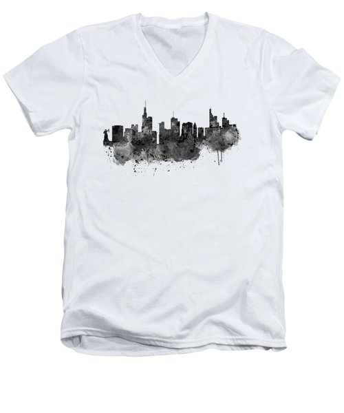 Frankfurt Black And White Skyline Men's V-Neck T-Shirt by Marian Voicu
