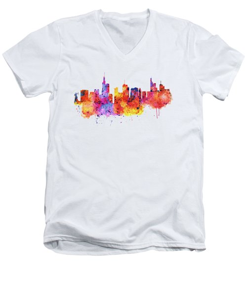 Frankfurt Skyline Men's V-Neck T-Shirt