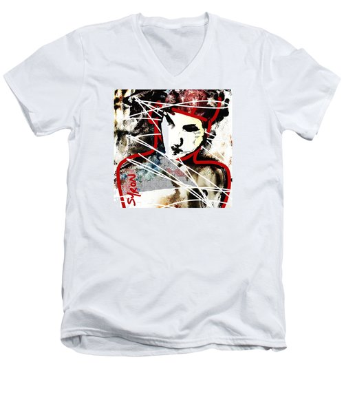 Men's V-Neck T-Shirt featuring the painting Free by Helen Syron