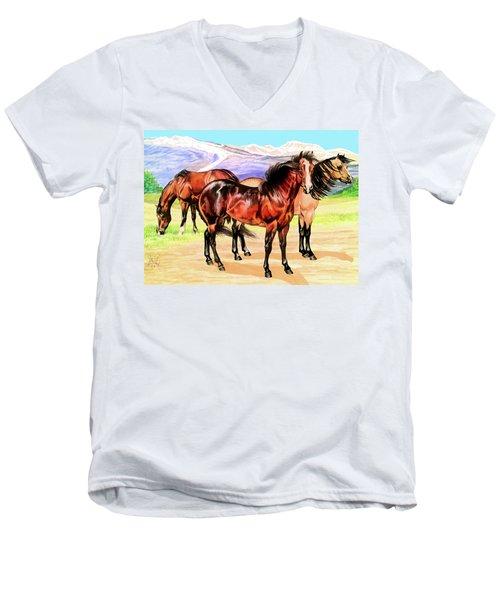 Free Range Men's V-Neck T-Shirt by Cheryl Poland