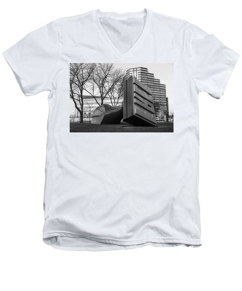 Free Stamp In Cleveland In Black And White  Men's V-Neck T-Shirt by John McGraw