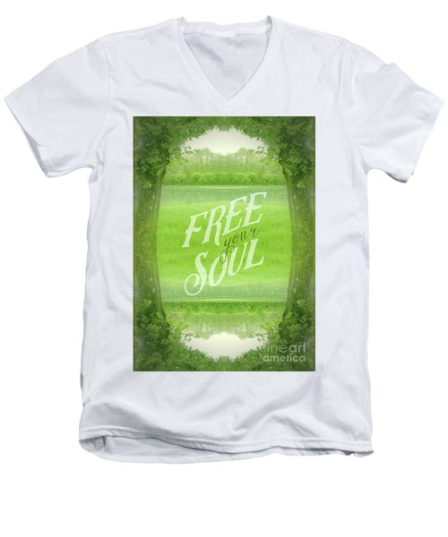 Free Your Soul Grand Canal Forest Fontainebleau Chateau Men's V-Neck T-Shirt