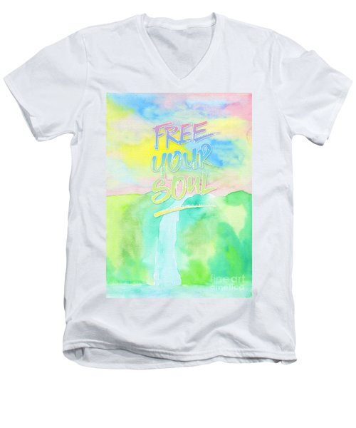 Free Your Soul Watercolor Colorful Spring Waterfall Painting Men's V-Neck T-Shirt