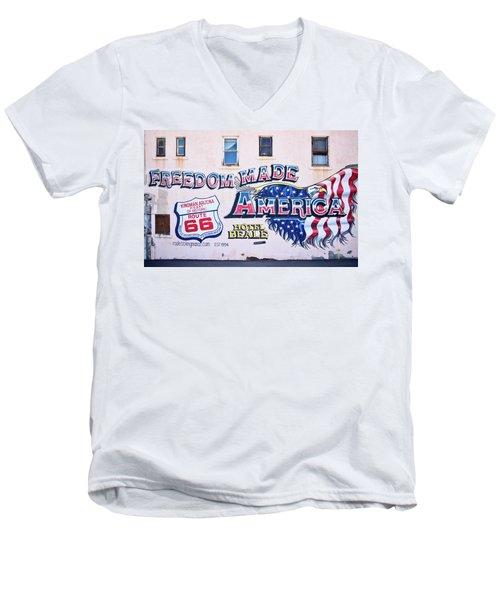 Freedom Made America - Mural Art On Route 66 Men's V-Neck T-Shirt