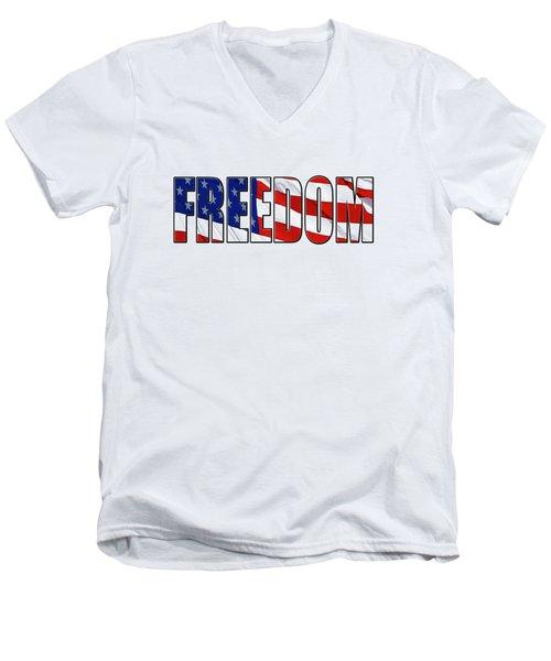 Freedom Men's V-Neck T-Shirt by Phyllis Denton