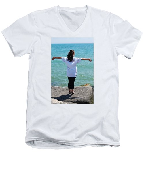 Men's V-Neck T-Shirt featuring the photograph Freedom by Ramona Whiteaker