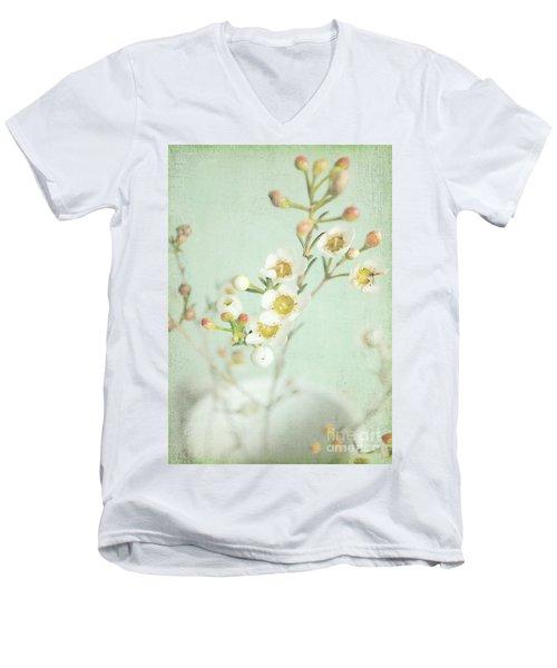 Freesia Blossom Men's V-Neck T-Shirt by Lyn Randle