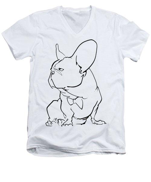 French Bulldog Gesture Sketch Men's V-Neck T-Shirt