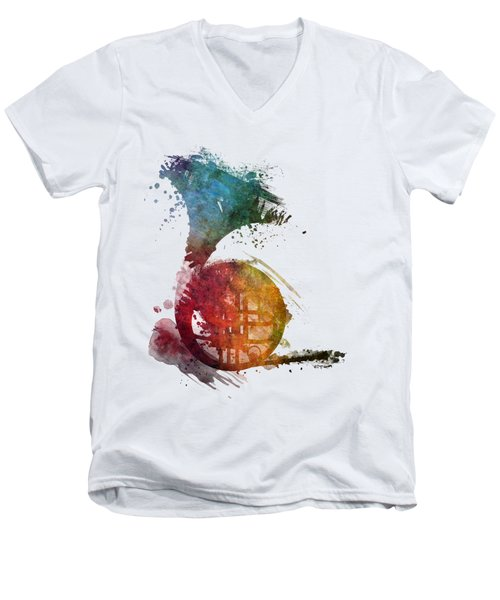 French Horn Colored Musical Instruments Men's V-Neck T-Shirt by Justyna JBJart