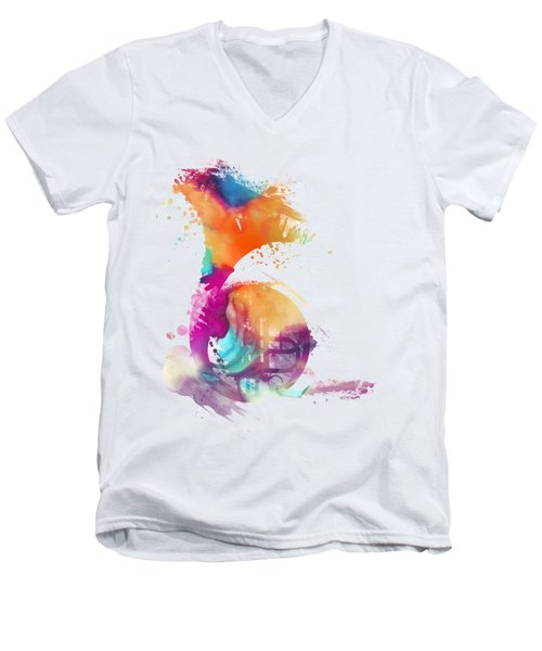 French Horn Watercolor Musical Instruments Men's V-Neck T-Shirt by Justyna JBJart
