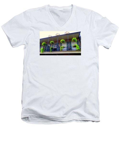French Quarter Balcony Men's V-Neck T-Shirt