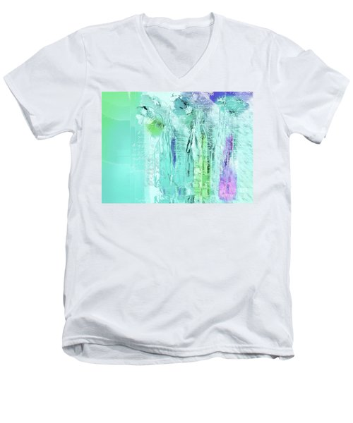Men's V-Neck T-Shirt featuring the digital art French Still Life - 14b by Variance Collections
