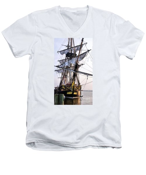 French Tall Ship Hermione  Men's V-Neck T-Shirt by John S