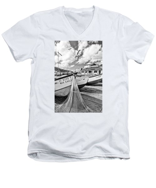 Frenchtown Fishing Boats 1 Men's V-Neck T-Shirt