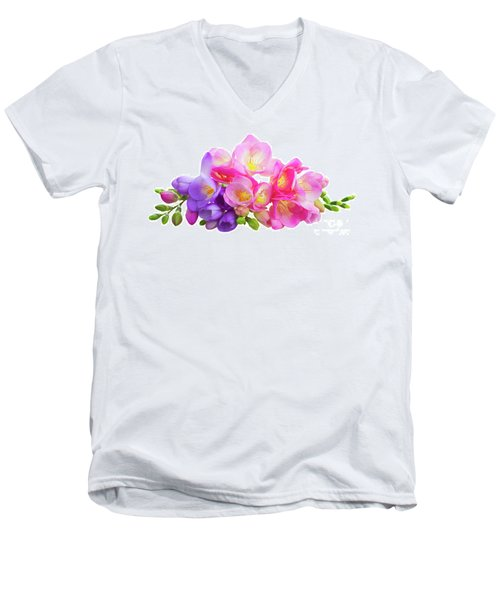 Fresh Pink And Violet Freesia Flowers Men's V-Neck T-Shirt