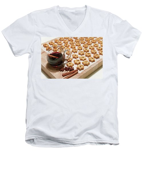 Freshly Baked Cheese Cookies And Hot Wine Men's V-Neck T-Shirt by GoodMood Art