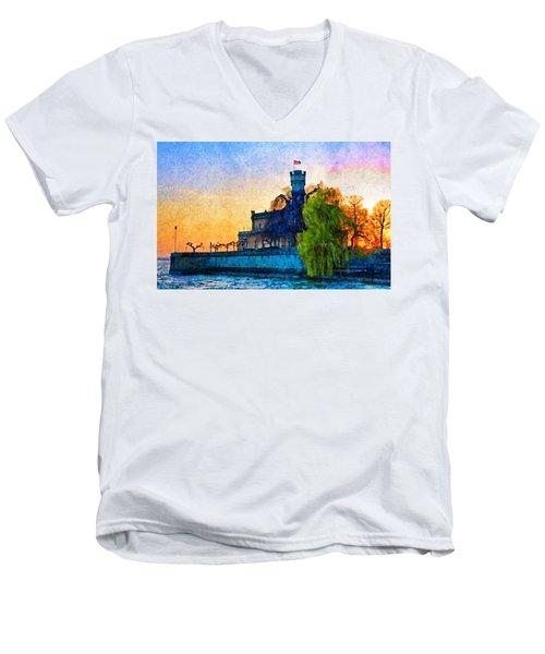 Friedrichshafen Castle At Sunset Men's V-Neck T-Shirt