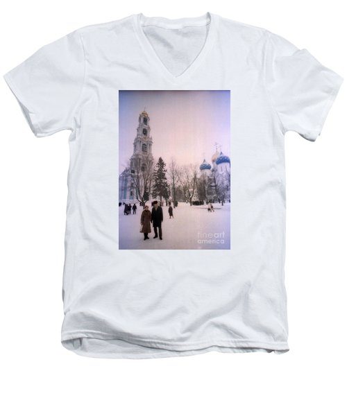 Friends In Front Of Church Men's V-Neck T-Shirt by Ted Pollard