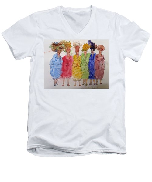 The Crazy Hat Society Men's V-Neck T-Shirt by Marilyn Jacobson