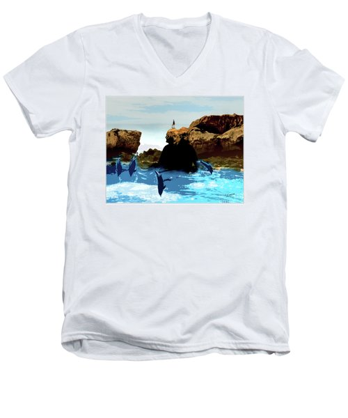 Friends With Dolphins In Colour Men's V-Neck T-Shirt
