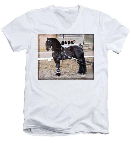 Friesian Stallion Under Harness Men's V-Neck T-Shirt