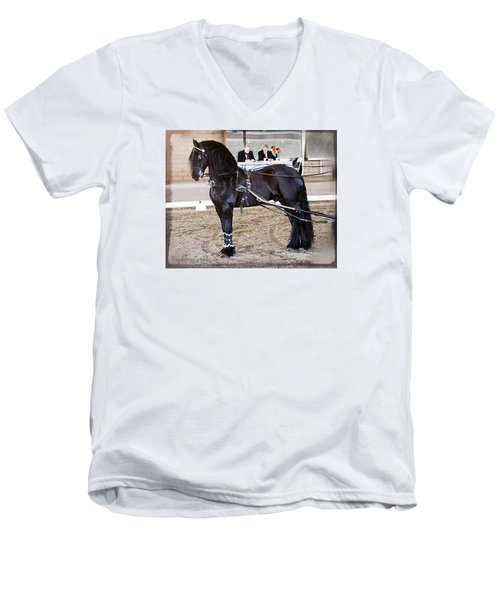 Friesian Stallion Under Harness Men's V-Neck T-Shirt
